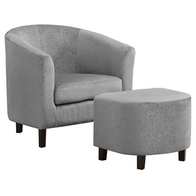 Sensational Monarch Specialties Accent Chair And Ottoman Set Light Gray Floral Black Item 5347941 Theyellowbook Wood Chair Design Ideas Theyellowbookinfo