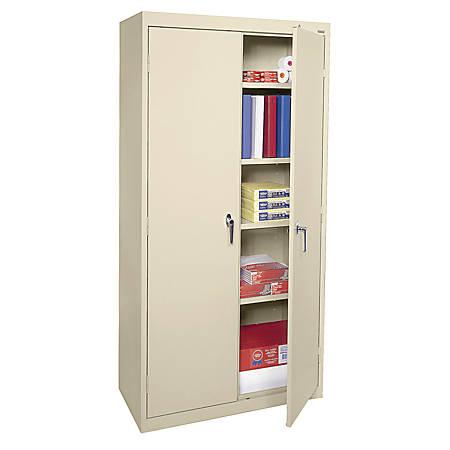 """Sandusky Steel Welded/Assembled Storage Cabinet, 4 Adjustable Shelves, 72""""H, Putty"""