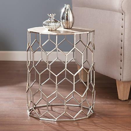 Southern Enterprises Clarissa Accent Table, Round, Antique Silver