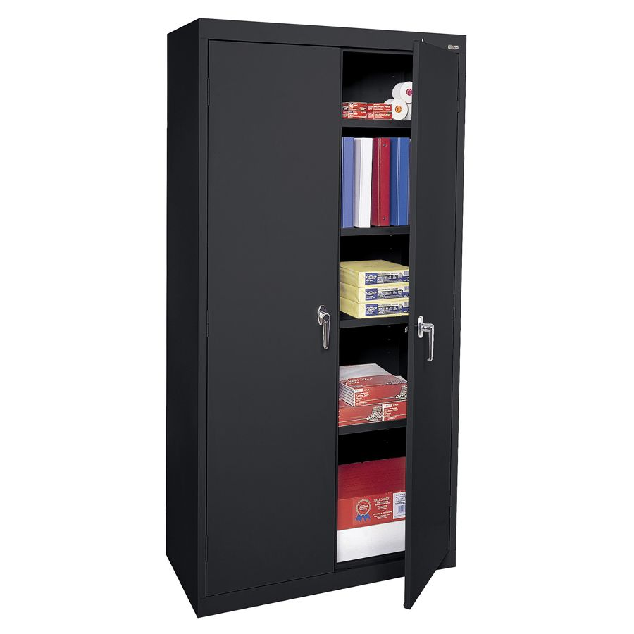 Sandusky 72 Steel WeldedAssembled Storage Cabinet With 4 Adjustable Shelves  Black By Office Depot U0026 OfficeMax