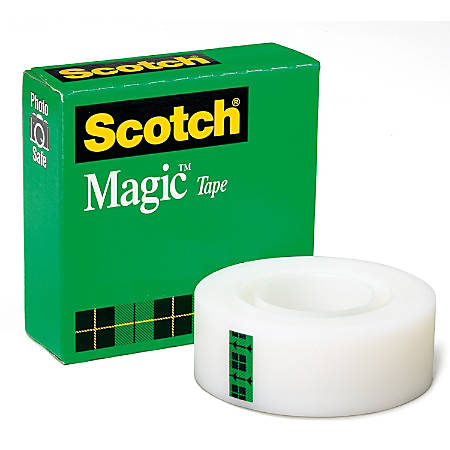 "Scotch Invisible Magic Tape - 1"" Width x 36 yd Length - 1"" Core - Writable Surface, Photo-safe, Repositionable, Non-yellowing - 1 / Roll - Matte Clear"