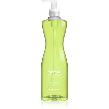 Method Lime/Sea Salt Dish Soap - Liquid - 0.14 gal (18 fl oz) - Lime + Seasalt ScentBottle - 6 / Carton - Light Willow Green