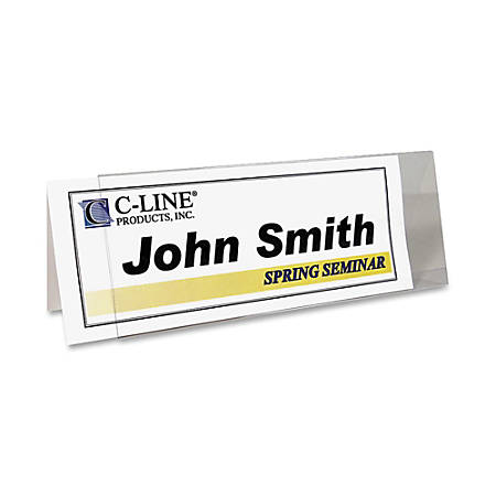 """C-Line® Inkjet/Laser Name Tent Holders, 11 1/5"""" x 4 3/10"""", Clear, Box Of 25"""