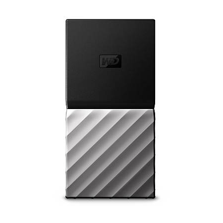 Western Digital® My Passport™ Portable External Solid State Drive, 512GB, 64MB Cache, WDBK3E5120PSL-WESN, Black/Silver