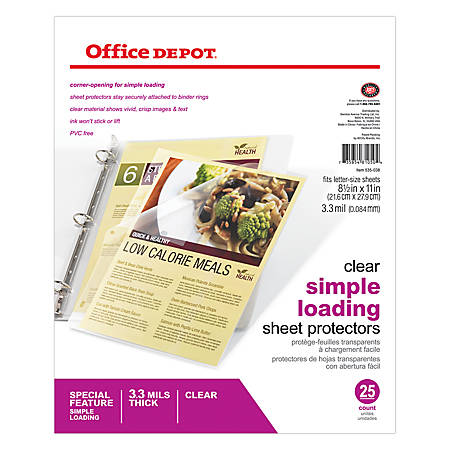 """Office Depot® Brand Simple-Load Sheet Protectors, 8 1/2"""" x 11"""", Clear, Pack Of 25"""