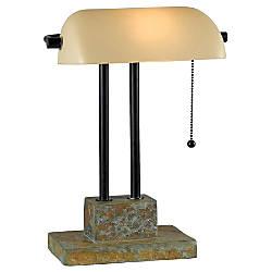Kenroy 17 Bankers Lamp Natural SlateOil