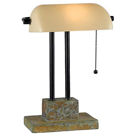 "Kenroy 17"" Banker's Lamp, Natural Slate/Oil-Rubbed Bronze"