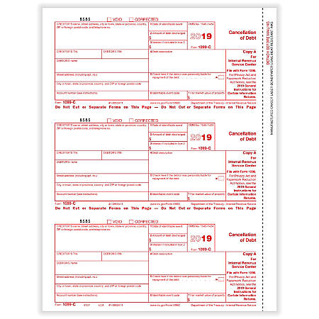 """ComplyRight™ 1099-C Tax Forms, Laser Cut, Federal Copy A, 8-1/2"""" x 11"""", Pack Of 50 Forms"""