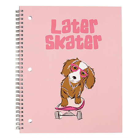 """Divoga® Happy Thoughts Spiral Notebook, 8 1/2"""" x 10 1/2"""", 1 Subject, Wide Ruled, 160 Pages (80 Sheets), Later Skater Puppy"""