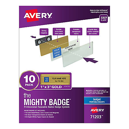 """Avery® The Mighty Badge Magnetic Badges For Inkjet Printers, 1"""" x 3"""", Gold, Pack Of 10 Badges"""