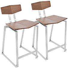 LumiSource Flight Contemporary Stools WalnutStainless Steel