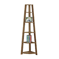 Monarch Specialties 5 Shelf Corner Bookshelf