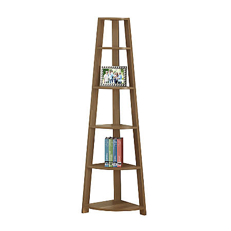 Monarch Specialties 5-Shelf Etagere Corner Bookshelf, Walnut