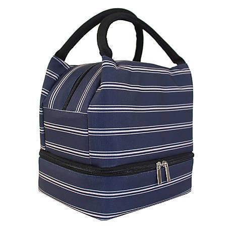 """Office Depot® Stripes Lunch Box With Bottom Zipper, 9-7/16""""H x 7""""W x 6-1/8""""D, Blue"""
