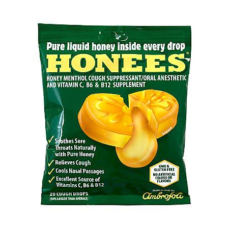 Honees Cough Drops, Menthol, 20 Per Pouch, Case Of 6 Pouches