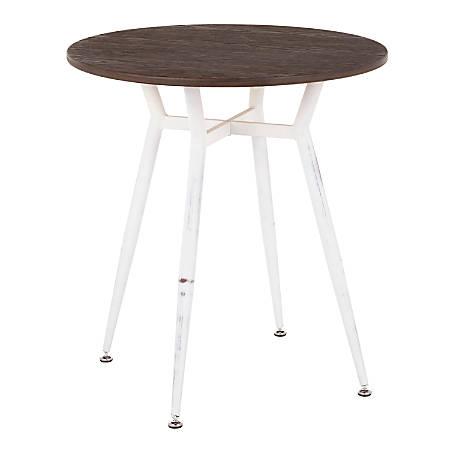 "LumiSource Clara Industrial Dinette Table, 30-1/4""H x 27-3/4""W x 27-3/4""D, Vintage White/Espresso"