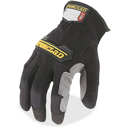 Ironclad WorkForce All-purpose Gloves - Medium Size - Thermoplastic Rubber (TPR) Knuckle, Thermoplastic Rubber (TPR) Cuff, Synthetic Leather, Terrycloth - Black, Gray - Impact Resistant, Abrasion Resistant, Durable, Reinforced - For Multipurpose, Home