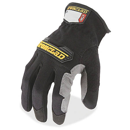 Ironclad WorkForce All-purpose Gloves - Large Size - Thermoplastic Rubber (TPR) Knuckle, Thermoplastic Rubber (TPR) Cuff, Synthetic Leather, Terrycloth - Black, Gray - Impact Resistant, Abrasion Resistant, Durable, Reinforced - For Multipurpose, Home
