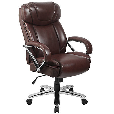 Surprising Flash Furniture Hercules Leather High Back Big And Tall Ergonomic Office Chair Brown Gray Item 5358398 Spiritservingveterans Wood Chair Design Ideas Spiritservingveteransorg
