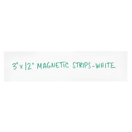 """Partners Brand White Warehouse Labels, LH185, Magnetic Strips 3"""" x 12"""", Case of 25"""