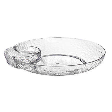 """Amscan Premium Plastic Hammered Chip And Dip Trays, 15"""", Clear, Pack Of 2 Trays"""