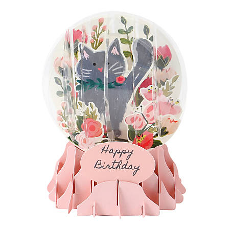 """Up With Paper Everyday Pop-Up Greeting Card, Snow Globe, 5"""" x 3-3/4"""", Botanical Cat"""