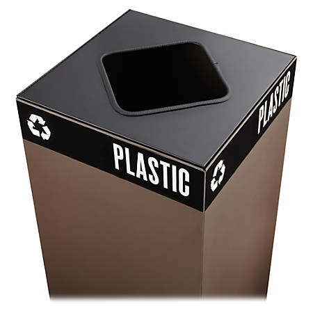 """Safco® Public Square® Recycling Receptacle Lid, 8"""" Square Opening, 3/4""""H x 15""""W x 15""""D, Black"""