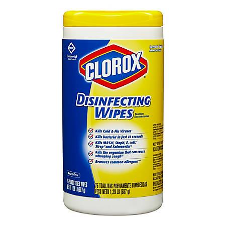 Clorox Disinfecting Wipes, Lemon Scent, 75 Wipes Per Tub, Box Of 6 Tubs