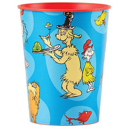 Amscan Dr. Seuss Plastic Favor Cups, 16 Oz, Multicolor, Set Of 10 Cups