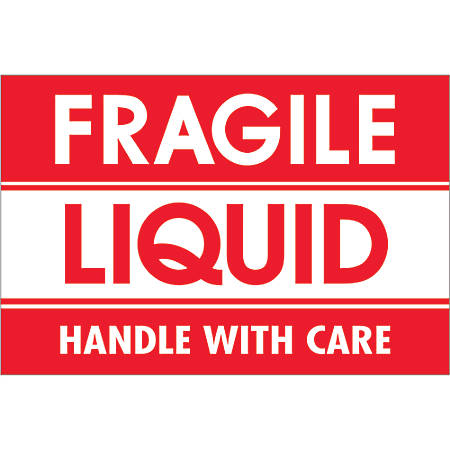 """Tape Logic® Preprinted Labels, DL2165, Fragile — Liquid — Handle With Care, Rectangle, 2"""" x 3"""", Red/White, Roll Of 500"""
