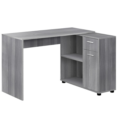 Peachy Monarch Specialties Corner Computer Desk With Storage Cabinet Gray Item 5364893 Download Free Architecture Designs Momecebritishbridgeorg
