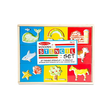 Melissa & Doug Wooden Stencil Box, Kindergarten To Grade 2