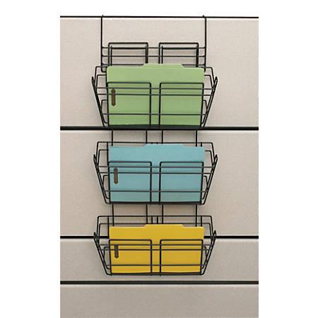 "Safco® Panelmate® Triple Tray Basket, 29 1/2""H x 15 1/2""W 8 1/2""D, Black"