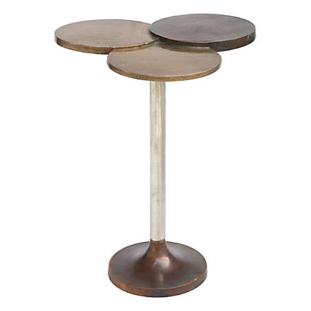 Zuo Modern Dundee Accent Table, Round, Antique Brass/Silver