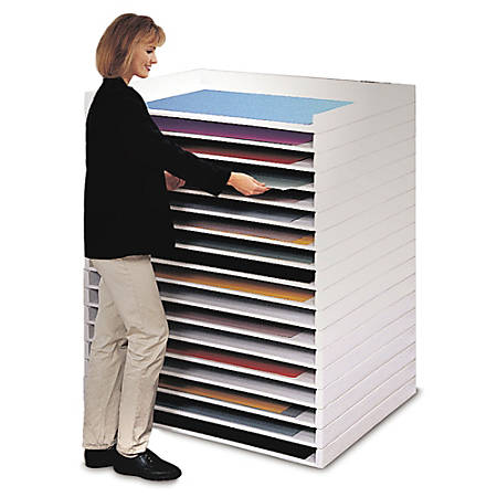 """Safco® Giant Stack Trays, 3""""H x 45 1/2""""W x 34""""D, White, Pack Of 2"""