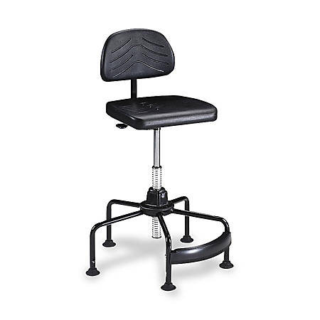"""Safco® Task Master® Economy Industrial Chair With Footrest, 17""""-35""""H x 26""""W x 26""""D, Chrome/Black"""