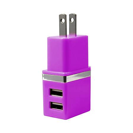 Duracell® Dual USB Wall Charger, Metallic Purple