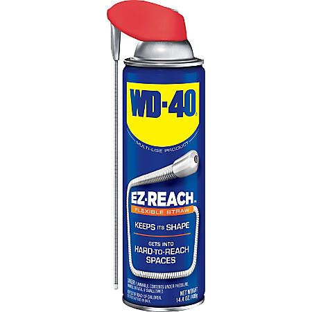 WD-40 EZ Reach Flexible Stray Lubricant - Ready-To-Use Aerosol - 0.11 gal (14.40 fl oz) - 1 Each - Light Amber