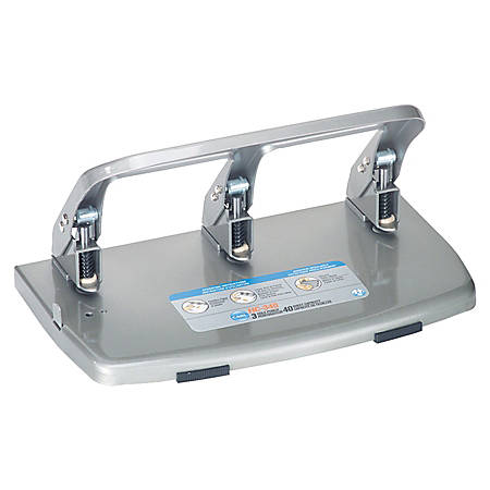 CARL HC340 Medium-Duty 3-Hole Punch, Gray