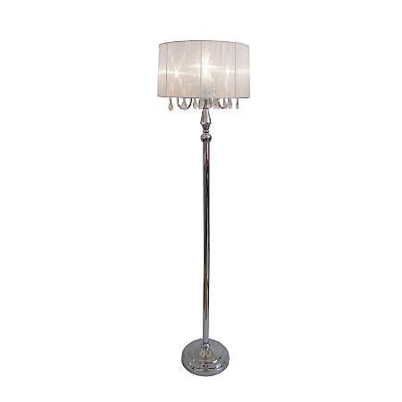 "Elegant Designs Sheer Shade Floor Lamp, 61 1/2"", White Shade/Chrome Base"