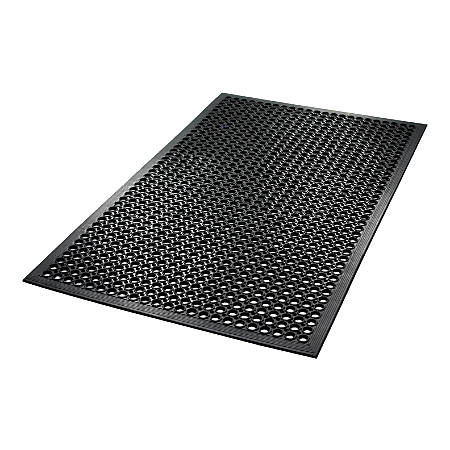 "Crown SafeWalk-Light Antifatigue Drainage Mat, 36"" x 60"", Black"