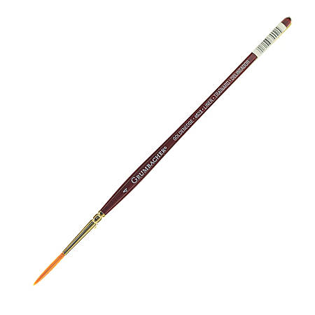 Grumbacher Goldenedge Watercolor Paint Brush, Size 4, Liner Bristle, Sable Hair, Brown