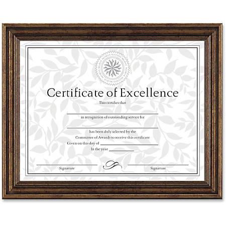 "Dax Burns Group Antique-colored Certificate Frame - 11"" x 8.50"" Frame Size - Rectangle - Desktop, Wall Mountable - Horizontal, Vertical - 1 Each - Antique Bronze"