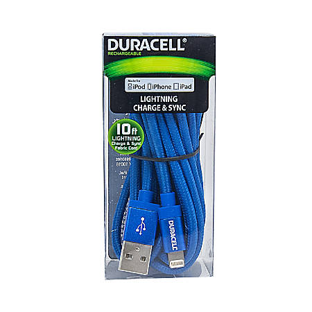 Duracell® Fabric Lightning Cable, 10', Blue, LE2236
