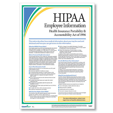 """ComplyRight HIPAA Employee Information Poster, English, 17"""" x 24"""""""