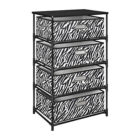 Ameriwood™ Home End Table Storage Unit, 4 Bins, Zebra Print