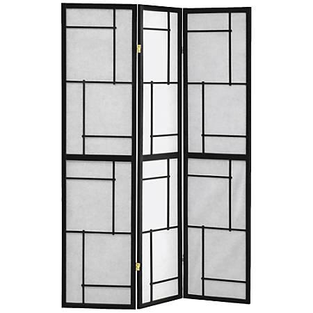 "Monarch Specialties Bernie 3-Panel Folding Screen, 70-1/4"" x 52"", Black"