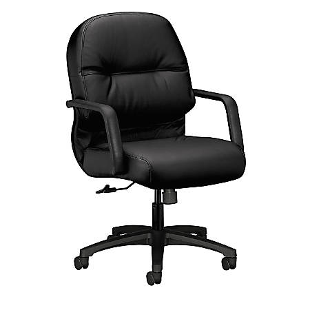 HON® Pillow-Soft® Leather Mid-Back Chair, Black