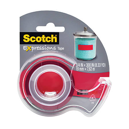 "Scotch® Expressions Magic Tape With Dispenser, 3/4"" x 300"", Red"