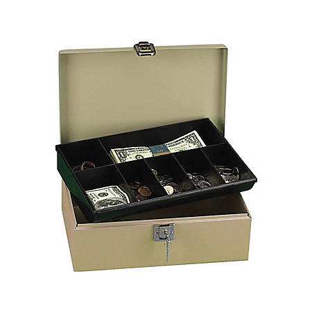 "PM Securit Lock N' Latch Steel Cash Box - 2 Bill - 5 Coin - Steel, Plastic - 4"" Height x 11"" Width x 7.5"" Depth"